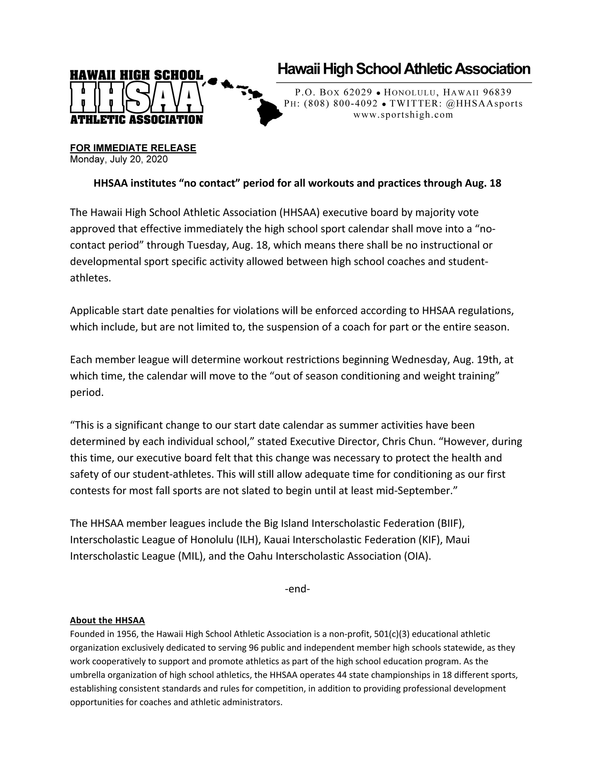 2020-07-20-press-release-hhsaa-institutes-no-contact-dead-period